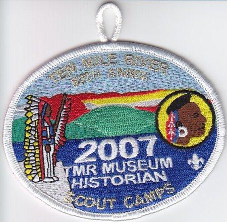 2007 Ten Mile River Scout Museum Historian Pocket Patch