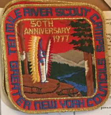 Ten Mile River Scout Camps 50th Anniversary Orange Jacket  Patch 1977
