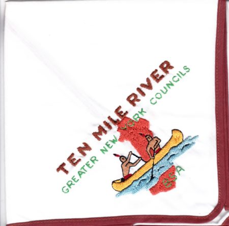 Ten Mile River Scout Camps White Cloth Brown Piping Neckerchief