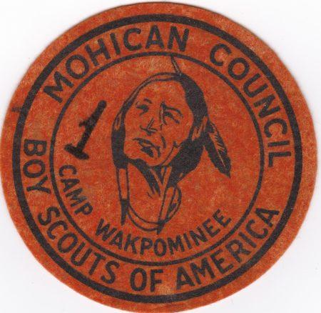 Camp Wakpominee Orange Felt Round Pocket Patch