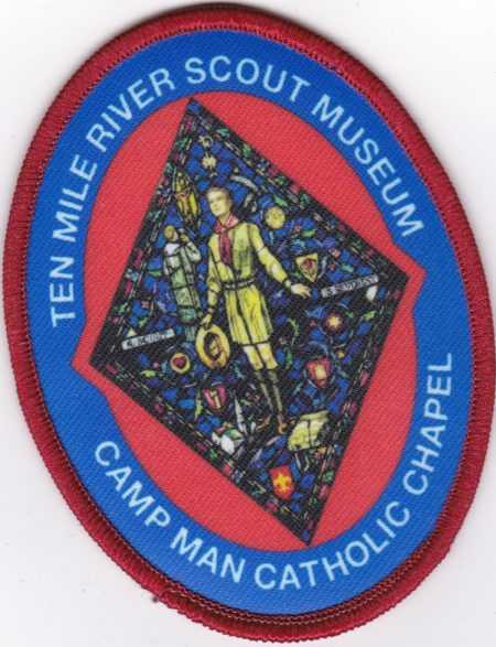 TMR Museum Camp Man Catholic Chapel Stained Glass Window Patch - Red Border