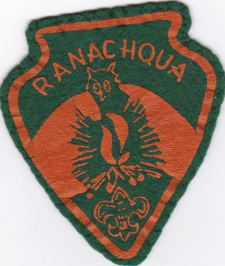 Camp Ranachqua Green and Orange Felt Arrowhead