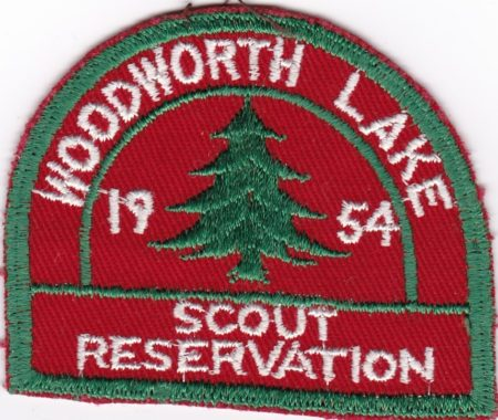 Woodworth Lake Scout Reservation 1954 cut edge patch